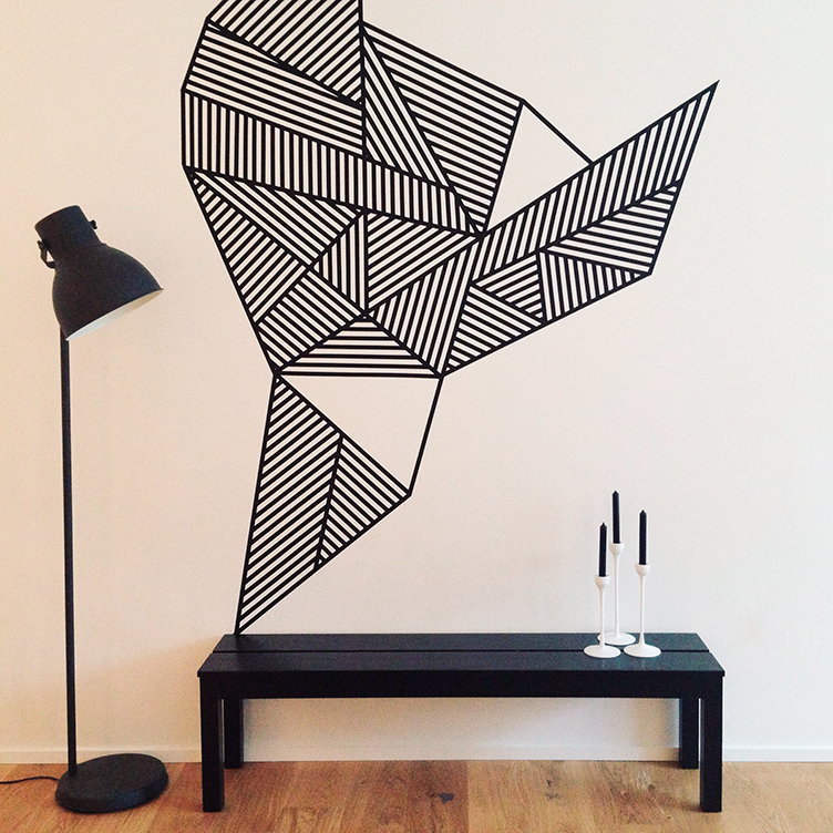 Make masking tape wall for Decoration murale geometrique